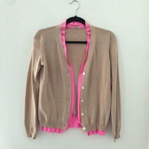 Miu Miu Hot Pink Silk Lined Cardigan